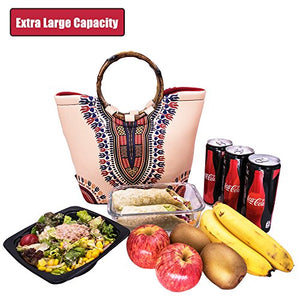 African Dashiki Insulated Neoprene Lunch Bag: Large Lunch Tote Carry Case Box Cooler Container, Washable, Reusable, Perfect For Women, Girls, Kids To School, Office, Outdoors Picnic - Dashiki Style - Beige: Kitchen & Dining