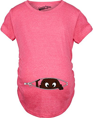 Maternity African American Baby Peeking Funny T Shirts Pregnancy Annoucement T Shirt (Pink) 3XL