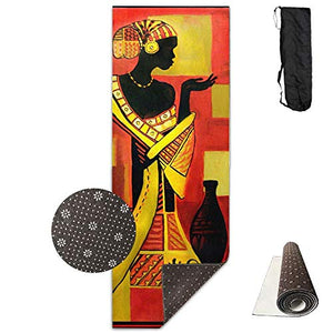 Black African Art Deluxe Yoga Mat Aerobic Exercise Pilates