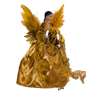 10-Light African American Angel Christmas Treetop Figurine, 13-Inch, Gold
