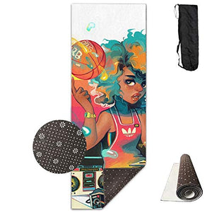 Non-Slip Fashion-Forward African Black Women with Golden Hair Printed Yoga Mat Aerobic Exercise Mat Pilates Mat Baby Crawling Mat with Carrying Bag Great for Man/Women/Baby