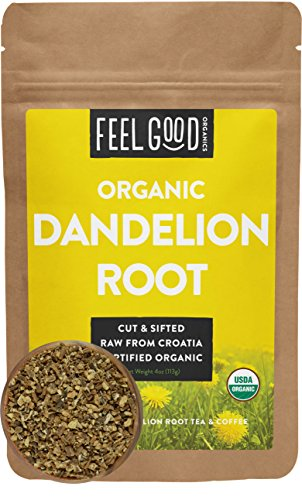 Organic Dandelion Root - Cut & Sifted - 4oz Resealable Bag - 100% Raw From Croatia - by Feel Good Organics : Grocery & Gourmet Food