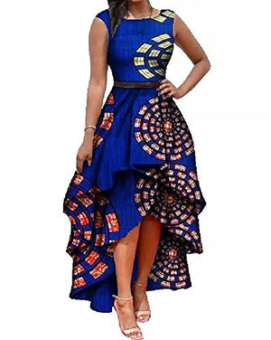 Womens African Print High Low Dashiki Dress Maxi Sleeveless Summer Party Dress