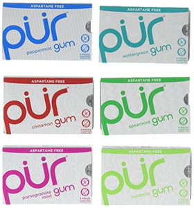PUR Gum Aspartame-Free 6 Flavor Variety Pack - Coolmint, Spearmint, Wintergreen, Peppermint, Cinnamon and Pomegranate Mint