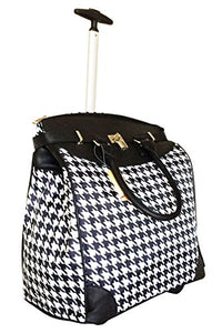Trendy Flyer Computer/Laptop Rolling Bag 2 Wheel Case Houndstooth Black