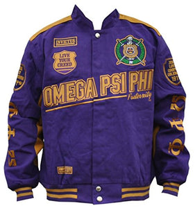 Omega Psi Phi Fraternity Mens Racing Twill Jacket Purple