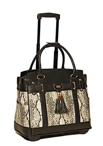 Firenze Python and Black Compatible with Computer iPad, Laptop Tablet Rolling Tote Bag Briefcase Carryall Bag