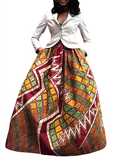 Women's Ethnic Plus-Size African Print Pull-on Pleated Maxi A-line Skirt