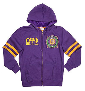 Omega Psi Phi Fraternity Mens New Zip-Up Hoodie Purple