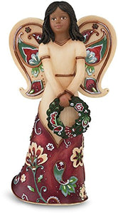 Perfect Paisley Holiday Ebony Angel Figurine Holding Wreath, 5-1/2-Inch Tall