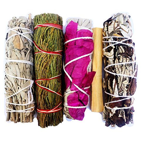 Smudge Kit - White Sage, Cedar, Flower Sage, Yerba Santa, Palo Santo. Home Cleansing, Blessing, Manifesting, Love: Home & Kitchen