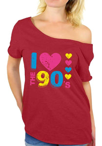 Awkward Styles Women's I Love The 90's Off The Shoulder Tops for Women T Shirts for 90's Fans