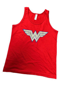 'Wonder Woman' Flowy Women's Youth Tank Top - Glitter Polyester Blend Cover Up