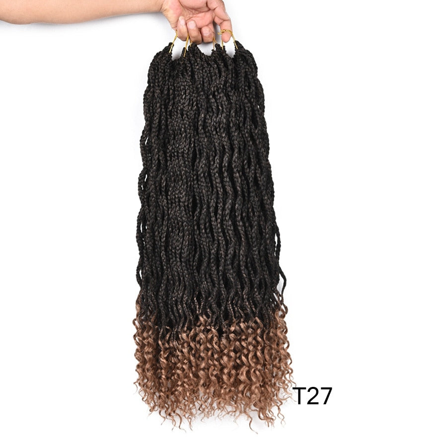 Curly End Box Braid Ombre Brown Or Burgundy Crochet Braids Kanekalon Synthetic Braiding Hair Extensions 24Strands/pack