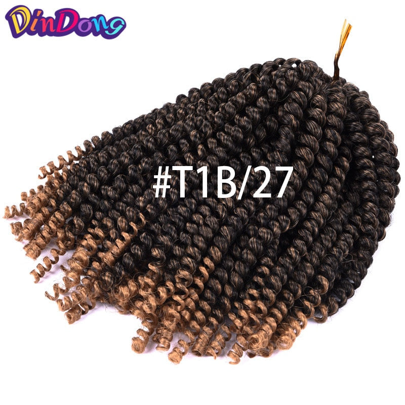 Spring Twist Crochet Braids Ombre Hair 8 inch Kanekalon Synthetic Hair Extensions Bounce Curly Twist Party Cosplay Show