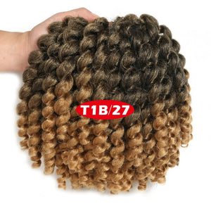 Jamaican Bounce Crochet Hair 8Inch Crochet Braids Synthetic Braiding Curly Crochet Twist Hair Extensions Ombre Black Brown Hair
