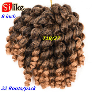 8inch Ombre Jumpy Wand Curl Crochet Braids 22 Roots Jamaican Bounce Synthetic Crochet Hair Extension for Black Women