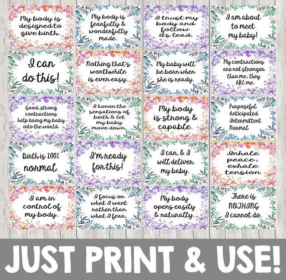 40 Birth Affirmation Cards for Natural Labor / Birth 4x6 Inches Floral Watercolor Girl Colors DIGITAL ITEM - Print Yourself