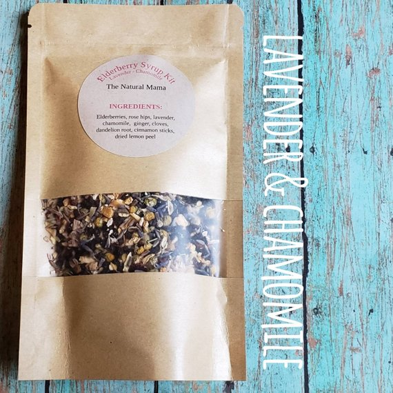 Wild crafted Elderberry Syrup Kit with added Lavender & Chamomile, all Organic ingredients,Great for colds and flu *FREE SHIPPING*
