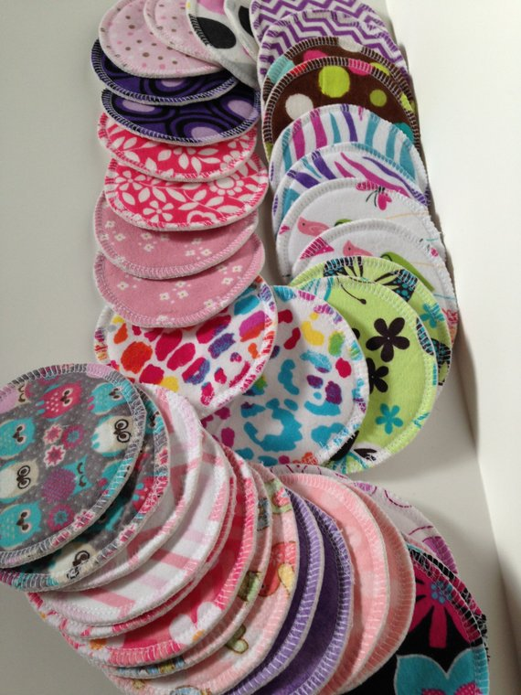"Washable Breast Pads, 5"" 6 pairs, Breastfeeding Pads,Random Mix, Maternity, Post Partum Pads, Reusable nursing pads, Reusable Nipple pads"
