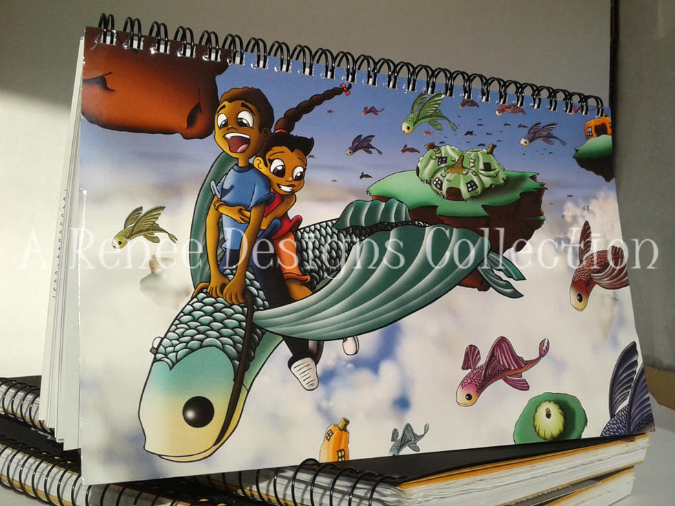African American Kids/ Fantasy/ Notebook/ Children/ Flying Fish/ African American Notebooks/ Gourds/ Journals/ Spiral Notebooks/ Stationery
