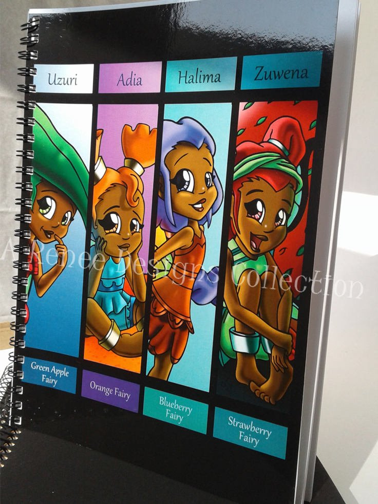 African American Fairy Notebooks/ Faeries/ African Butterfly Art/ African American Girls/ African American Fairy Art/ Back to School/ Pixies