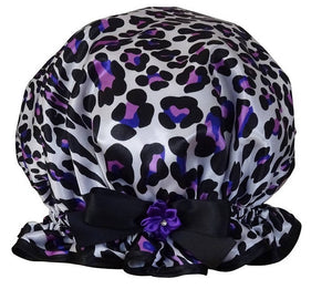 Ladies Shower Cap - Violet Leopard