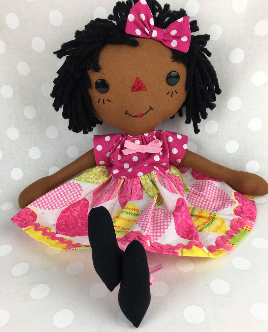 Raggedy Ann Doll - Black Rag Doll - Black Baby Doll - African American Doll - Cinnamon Annie Doll - Birthday Gift for Girls - Girls Room