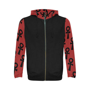Egyptian Ankh Hooded Sweater With Zipper // Kemetic Shirt // Conscious Clothing // Red and Black Ankh Sweater // African Clothing for Men