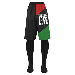 RBG Mens Shorts // African Clothing for Men // Egyptian Clothing // Egyptian Short  // Swim Beach Trunks // Ankh Life Short // Summer Wear