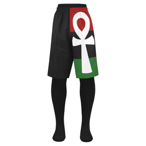 Pan African RBG Ankh Mens Shorts // African Clothing for Men //  Egyptian Short  // Swim Beach Trunks // Ankh Life Short // Summer Wear