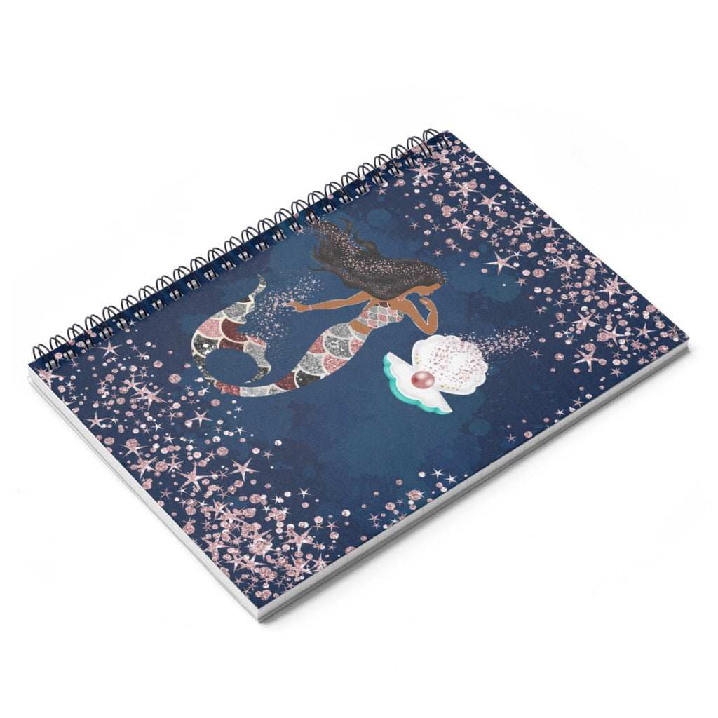 Mermaid African American Spiral Notebook  Ruled Line Navy Blue  Pink Ocean Back To School Stationery Home Office