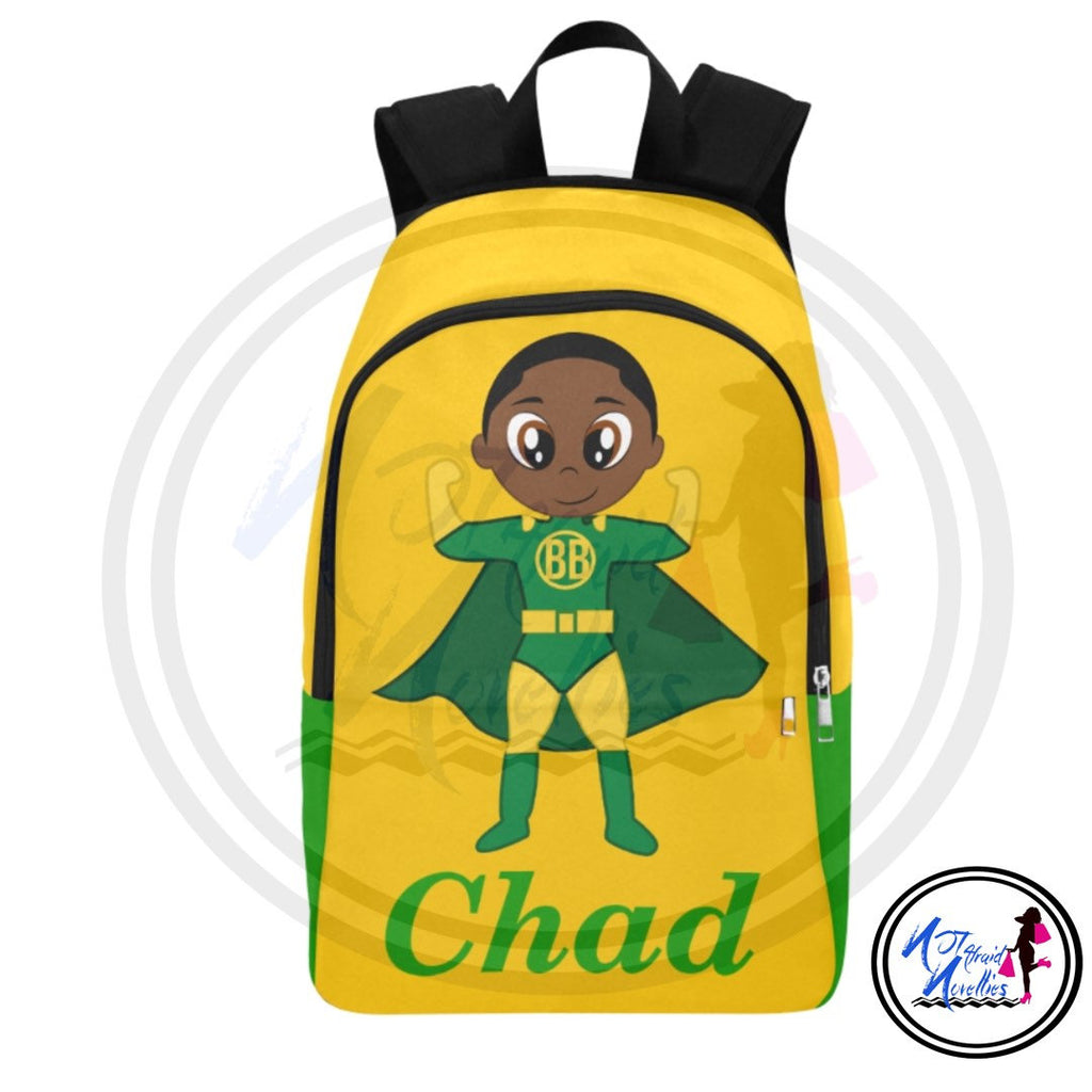 Back to school. African American boy superhero backpack. School supplies. Backpacks. Books. Boys. Boy school supplies. Superhero. Little boy