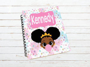 Personalized Notebook, Notebook, Custom Journal, Custom Notebook, Kid, Student, School Supplies, Black Girl, African American, Afro Puffs
