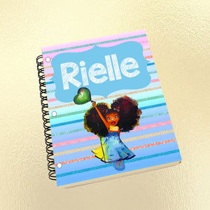 Personalized Notebook, Notebook, Custom Journal, Custom Notebook, Kid Notebook, Student, School Supplies, Black Girl, African American