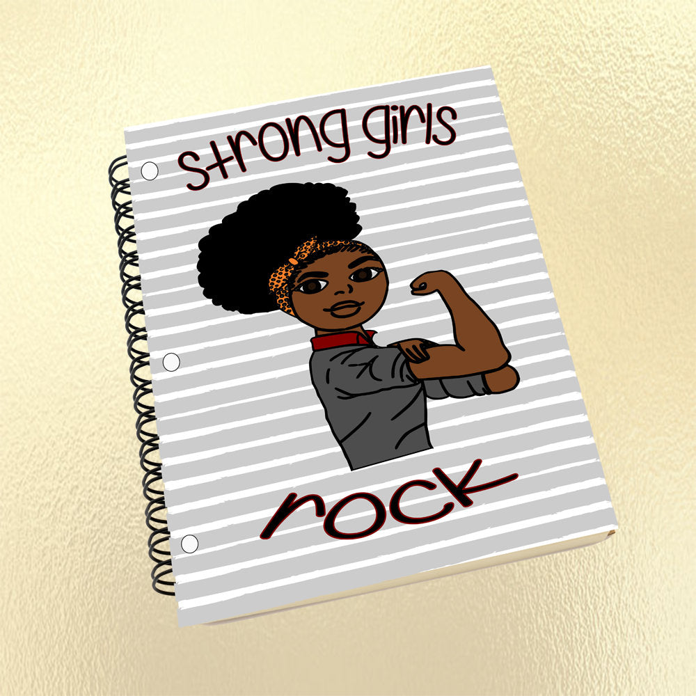 Notebook, Journal, Black Girl, African American, Strong Girls Rock Notebook, Kid Notebook, Student, School Supplies, Natural Hair, Afro