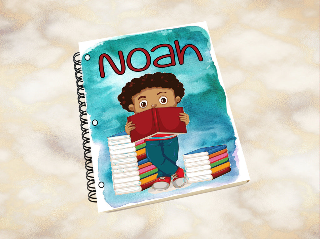 Personalized Notebook, Notebook, Custom Journal, Custom Notebook, Kid Notebook, Student, School Supplies, Black Boy, African American Boy