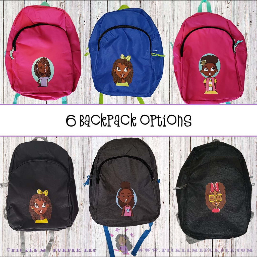 African American girls backpack, Personalized bookbag, Kids Backpack, African American, Backpack, School Bag, Afro Puff Hair Backpack