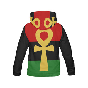 Pan African RBG Ankh Hoodie // RBG Afrocentric Clothing//  Men's African Clothing //Women's African Clothing //RBG Flag Jacket