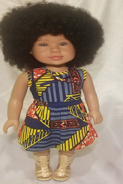 Black 18 inch doll with real afro hair, biracial doll