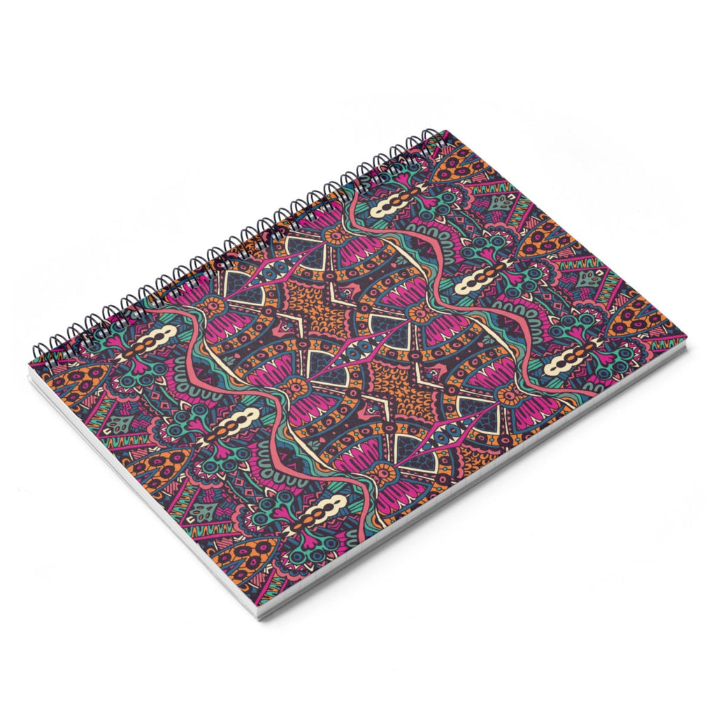 African Tribal Purple Spiral Notebook  Ruled Line Back To School Stationery Home Office Modern Ethnic Boho Native Purple
