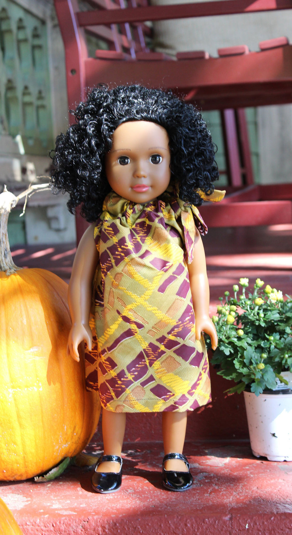 African Print 18 inch Doll Dress. Fall Colors Ankara