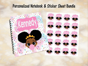 Personalized Notebook, Custom Stickers, Notebook, Custom Notebook, Kid Notebook, School Supplies, Afro Puff, African American, Princess