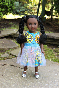 Blue African Print 18 inch Doll Dress.