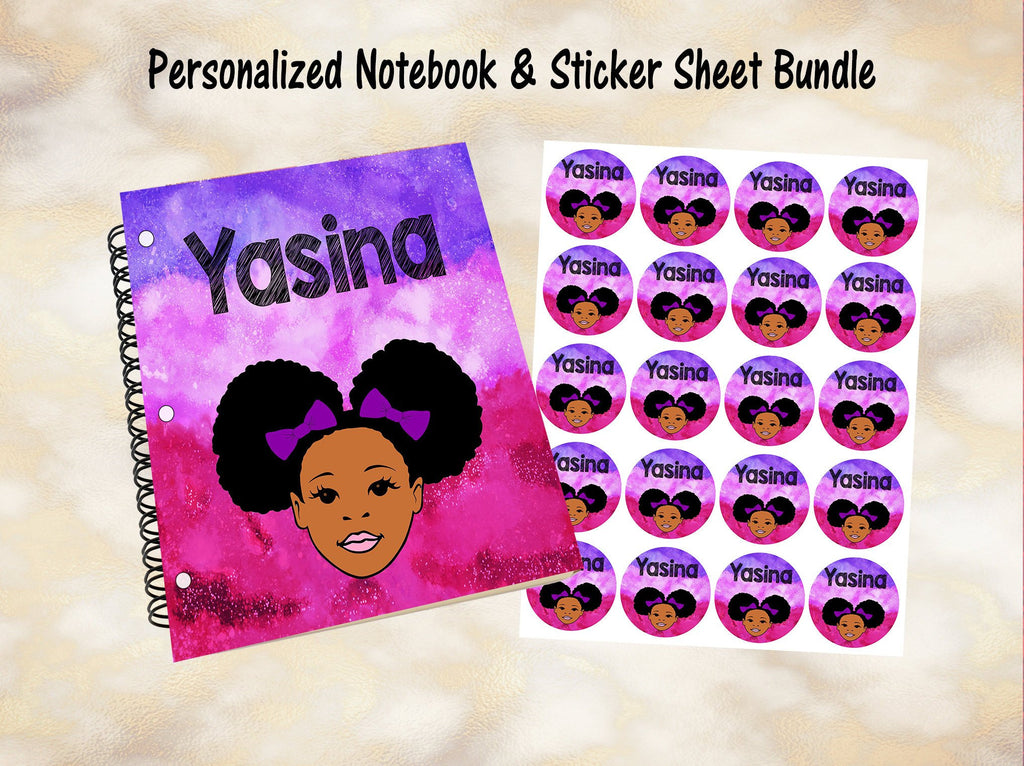 Personalized Notebook, Custom Stickers, Notebook, Custom Notebook, Kid Notebook, Student, School Supplies, Black Girl, African American