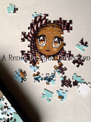 African American Girl Puzzles/ Kawaii Girl/ African American Art/ African American Girl/ Turquoise Puzzles/ 110 Puzzle Pieces/ Chibi Puzzles