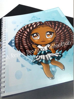 African American Girl/ Notebooks/ Kawaii Girl/ African American Art/ School Supplies/  Two Strand Twist/ Brown Girl Notebooks/ Chibi/