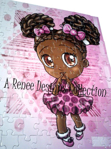 African American Girl Puzzles/ Kawaii Girl/ African American Art/ African American Girl/ Purple Puzzles/ 110 Puzzle Pieces/ Chibi Puzzles