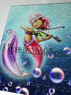 African American Puzzles/ Mermaid Girl/ African American Art/ African American Mermaid/ Violin/ 110 Puzzle Pieces/ Mermaid Puzzles/ Fantasy
