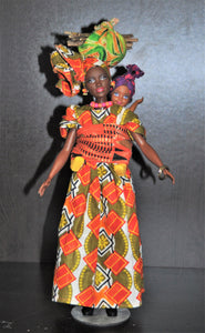 Collectible gorgeous African Black Barbie carrying baby on back Cameroon style - handcrafted African traditional outfit